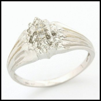 Solid 10k White Gold, 0.03ctw Genuine Diamonds Ring size 8
