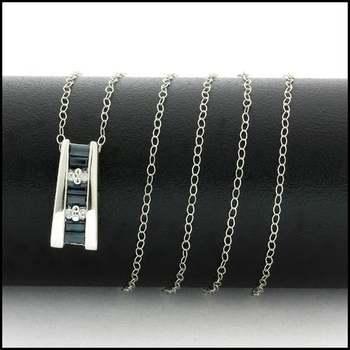 Solid 10k White Gold, 0.04ctw Genuine Diamond & 0.25ctw Sapphire Necklace