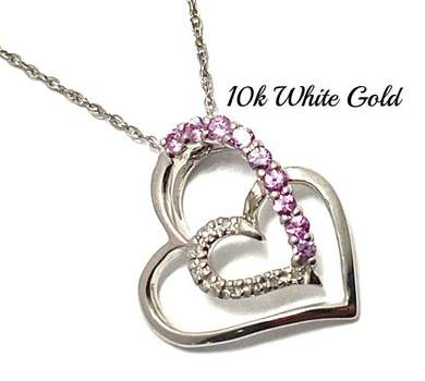 Solid 10k White Gold, 0.05ctw Genuine Diamond & 0.20ctw Pink Sapphire Necklace