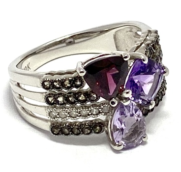 Solid 10k White Gold, 0.05ctw Genuine Diamond & 1.2ctw Rhodolite & 1.25ctw Amethyst & 1.25ctw Lilac Amethyst Ring Size 7.25