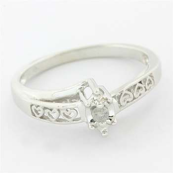 Solid 10k White Gold, 0.05ctw Genuine Diamond Engagement Ring Size 7