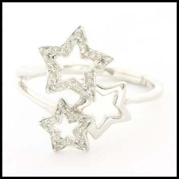 Solid 10k White Gold 0.05ctw Genuine Diamond Ring Size 7