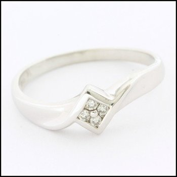 Solid 10k White Gold, 0.05ctw Genuine Diamond Ring sz 7