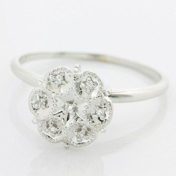 Solid 10k White Gold, 0.05ctw Genuine Diamonds Ring size 8.5