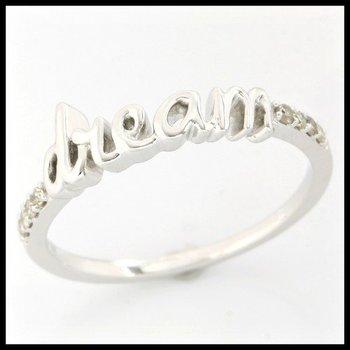 "Solid 10k White Gold, 0.08ctw Genuine Diamonds ""Dream"" Ring sz 6 3/4"