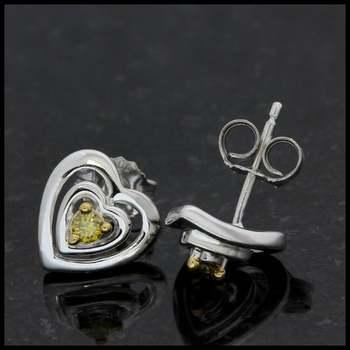 Solid 10k White Gold, 0.08ctw Genuine Yellow Diamond Stud Earrings