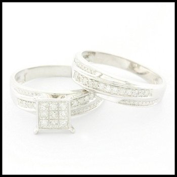 Solid 10k White Gold, 0.10ctw Genuine Diamond Bridal Engagement Set of Two Rings sz 8