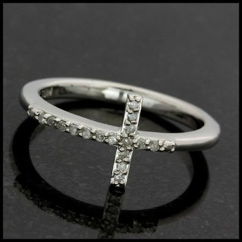 Solid 10k White Gold, 0.10ctw Genuine Diamond Cross Ring size 7