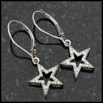 Solid 10k White Gold, 0.10ctw Genuine Diamond Earrings