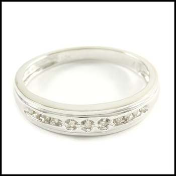 Solid 10k White Gold, 0.10ctw Genuine Diamond Men's Wedding Band Ring Size 10.25
