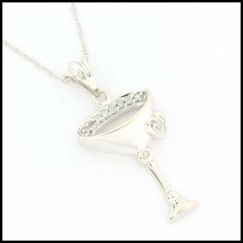 Solid 10k White Gold, 0.10ctw Genuine Diamond Necklace