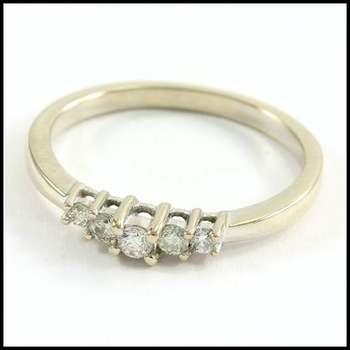 Solid 10k White Gold, 0.10ctw Genuine Diamond Ring Size 7