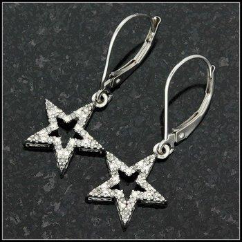 Solid 10k White Gold, 0.10ctw Genuine Diamond Star Shape Earrings