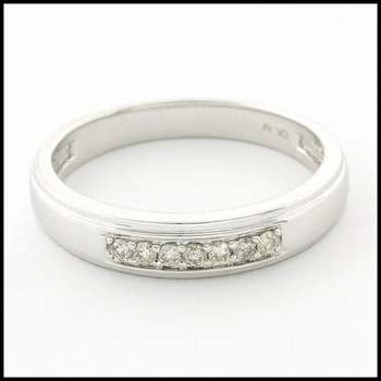 Solid 10k White Gold, 0.10ctw Genuine Diamond Unisex Wedding Band Ring Size 9.75
