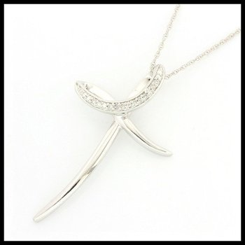 Solid 10k White Gold, 0.10ctw Genuine Diamonds Cross Necklace