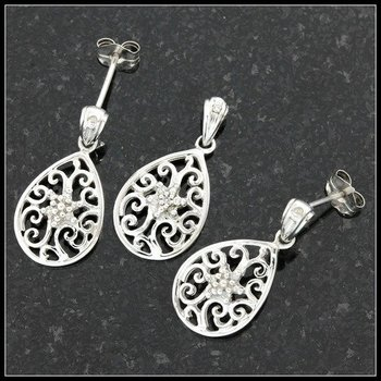 Solid 10k White Gold, 0.10ctw Genuine Diamonds Pendant and Earrings Set