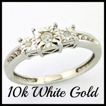 Solid 10k White Gold, 0.10ctw Genuine Diamonds Ring size 7