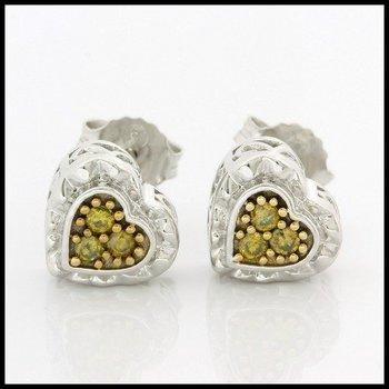 Solid 10k White Gold, 0.10ctw Genuine F.Y. I1 Diamonds Stud Earrings