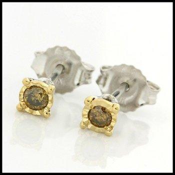 Solid 10k White Gold, 0.10ctw Genuine Yellow Diamonds Stud Earrings
