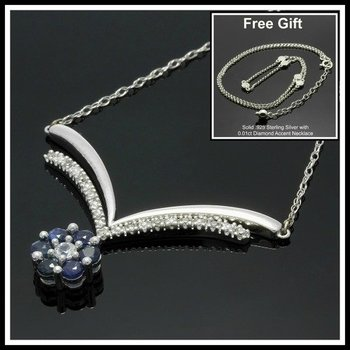 Solid 10k White Gold, 0.11ctw Genuine Diamonds & 0.48ctw Genuine Sapphire Necklace FREE Gift - Silver Necklace