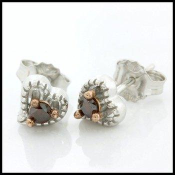Solid 10k White Gold, 0.12ctw Genuine Cognac Diamonds Stud Earrings