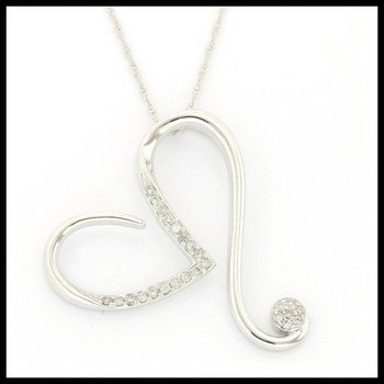 Solid 10k White Gold, 0.12ctw Genuine Diamonds Necklace