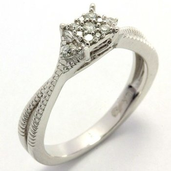 Solid 10K White Gold, 0.12ctw Genuine Diamonds Ring Size 6.5