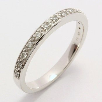 Solid 10k White Gold, 0.13ctw Genuine Diamonds Ring sz 6 3/4