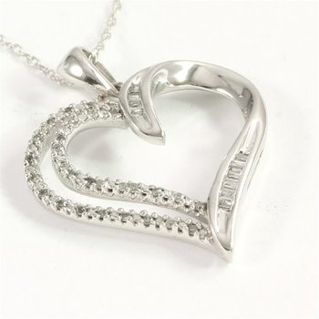 Solid 10k White Gold 0.15ctw Genuine Diamond Heart Necklace