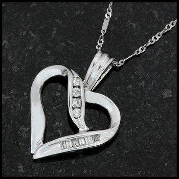 Solid 10k White Gold, 0.15ctw Genuine Diamond Heart Necklace