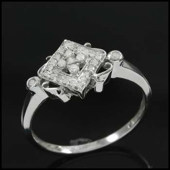 Solid 10k White Gold, 0.15ctw Genuine Diamond Ring Size 7