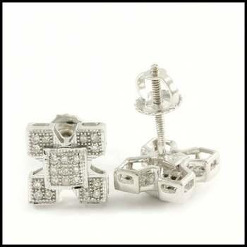 Solid 10k White Gold, 0.15ctw Genuine Diamond Stud Earrings