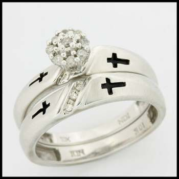Solid 10k White Gold, 0.15ctw Genuine Diamonds Bridal Engagement Set of Two Rings sz 7