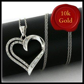 Solid 10k White Gold, 0.15ctw Genuine Diamonds Heart Shape Necklace