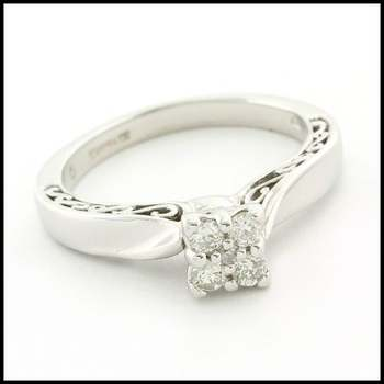 Solid 10k White Gold, 0.16ctw Genuine Diamond Engagement Ring Size 6