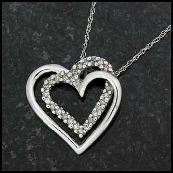 Solid 10k White Gold, 0.16ctw Genuine Diamond Heart Shape Pendant Necklace