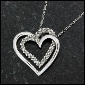Solid 10k White Gold, 0.16ctw Genuine Diamond Heart Shape Pendant Necklace