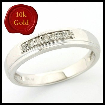 Solid 10k White Gold, 0.16ctw Genuine Diamonds Ring size 9.5