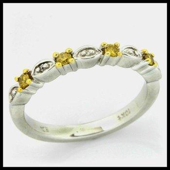 Solid 10k White Gold, 0.16ctw Genuine Yellow & White Diamonds Ring sz 6.5