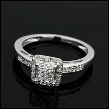 Solid 10k White Gold, 0.17ctw Genuine Diamond Ring Size 7