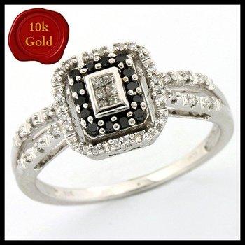 Solid 10k White Gold, 0.20ctw Genuine Black & White Diamonds Ring sz 6 3/4