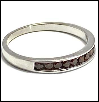 Solid 10k White Gold, 0.20ctw Genuine Cognac Diamond Ring Size 7