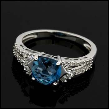 Solid 10k White Gold, 0.20ctw Genuine Diamond & 2.50ctw London Blue Topaz Ring Size 7