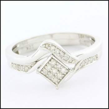 Solid 10k White Gold, 0.20ctw Genuine Diamond Bridal Engagement Set of Two Rings sz 9