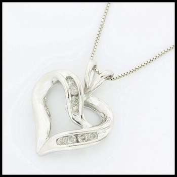 Solid 10k White Gold, 0.20ctw Genuine Diamond Heart Necklace