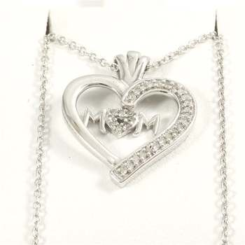 Solid 10k White Gold 0.20ctw Genuine Diamond Pendant with 14k Gold Filled Chain