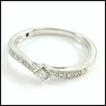 Solid 10k White Gold, 0.20ctw Genuine Diamond Promise Engagement Ring Size 6