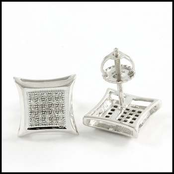 Solid 10k White Gold, 0.20ctw Genuine Diamond Stud Earrings