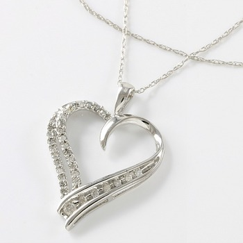 Solid 10k White Gold, 0.20ctw Genuine Diamonds Heart Shape Necklace