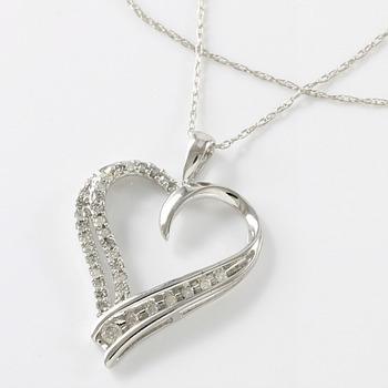 Solid 10k White Gold, 0.20ctw Genuine Diamonds Heart Shape Necklace